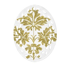 Gold Authentic Silvery Pattern Ornament (Oval Filigree)