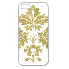 Gold Authentic Silvery Pattern Apple Seamless iPhone 5 Case (Clear)