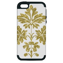 Gold Authentic Silvery Pattern Apple iPhone 5 Hardshell Case (PC+Silicone)