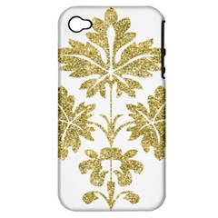 Gold Authentic Silvery Pattern Apple iPhone 4/4S Hardshell Case (PC+Silicone)