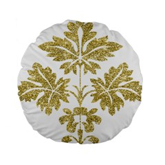 Gold Authentic Silvery Pattern Standard 15  Premium Round Cushions