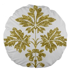 Gold Authentic Silvery Pattern Large 18  Premium Round Cushions