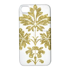 Gold Authentic Silvery Pattern Apple iPhone 4/4S Hardshell Case with Stand