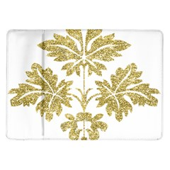 Gold Authentic Silvery Pattern Samsung Galaxy Tab 10.1  P7500 Flip Case