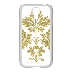 Gold Authentic Silvery Pattern Samsung GALAXY S4 I9500/ I9505 Case (White)
