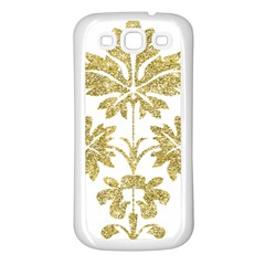 Gold Authentic Silvery Pattern Samsung Galaxy S3 Back Case (White)