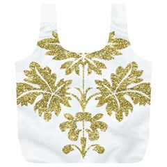 Gold Authentic Silvery Pattern Full Print Recycle Bags (L)