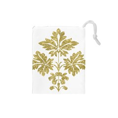 Gold Authentic Silvery Pattern Drawstring Pouches (Small)