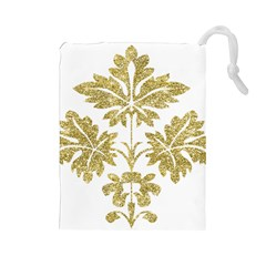 Gold Authentic Silvery Pattern Drawstring Pouches (Large)