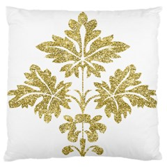Gold Authentic Silvery Pattern Large Flano Cushion Case (One Side)