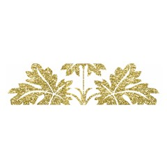 Gold Authentic Silvery Pattern Satin Scarf (Oblong)