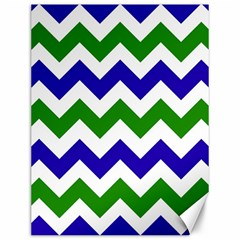 Blue And Green Chevron Pattern Canvas 12  X 16