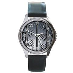 Mature Black Auto Altreifen Rubber Pattern Texture Car Round Metal Watch