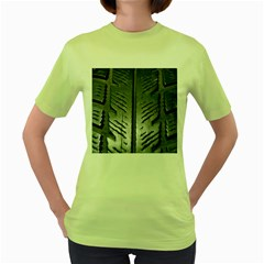 Mature Black Auto Altreifen Rubber Pattern Texture Car Women s Green T Shirt