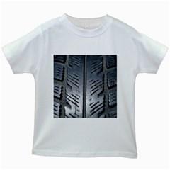 Mature Black Auto Altreifen Rubber Pattern Texture Car Kids White T Shirts