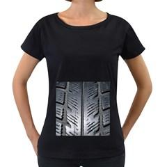 Mature Black Auto Altreifen Rubber Pattern Texture Car Women s Loose Fit T Shirt (black)