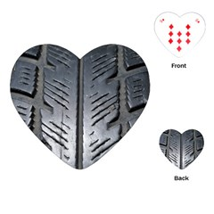 Mature Black Auto Altreifen Rubber Pattern Texture Car Playing Cards (heart)