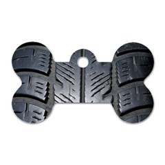 Mature Black Auto Altreifen Rubber Pattern Texture Car Dog Tag Bone (Two Sides)