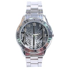 Mature Black Auto Altreifen Rubber Pattern Texture Car Stainless Steel Analogue Watch