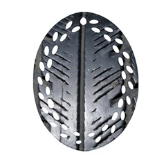 Mature Black Auto Altreifen Rubber Pattern Texture Car Ornament (oval Filigree)