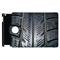Mature Black Auto Altreifen Rubber Pattern Texture Car Apple Ipad 3/4 Flip 360 Case