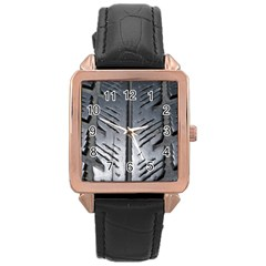 Mature Black Auto Altreifen Rubber Pattern Texture Car Rose Gold Leather Watch
