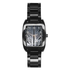 Mature Black Auto Altreifen Rubber Pattern Texture Car Stainless Steel Barrel Watch