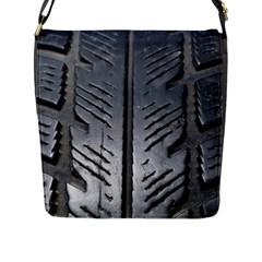 Mature Black Auto Altreifen Rubber Pattern Texture Car Flap Messenger Bag (l)