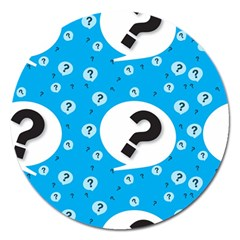 Blue Question Mark Magnet 5  (round)