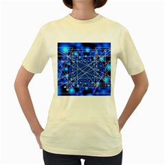 Network Connection Structure Knot Women s Yellow T-Shirt