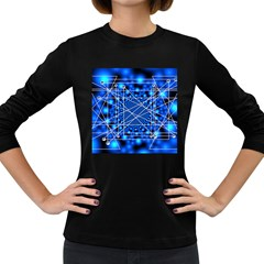 Network Connection Structure Knot Women s Long Sleeve Dark T Shirts