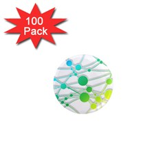 Network Connection Structure Knot 1  Mini Magnets (100 Pack)