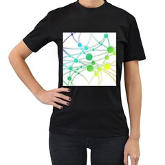 Network Connection Structure Knot Women s T Shirt (black) (two Sided)