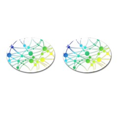 Network Connection Structure Knot Cufflinks (oval)