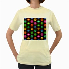 Pattern Background Colorful Design Women s Yellow T Shirt