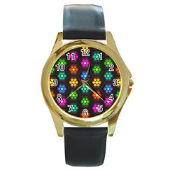 Pattern Background Colorful Design Round Gold Metal Watch