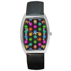 Pattern Background Colorful Design Barrel Style Metal Watch