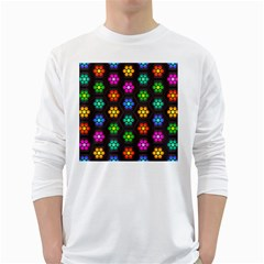 Pattern Background Colorful Design White Long Sleeve T Shirts