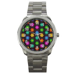 Pattern Background Colorful Design Sport Metal Watch