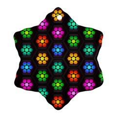 Pattern Background Colorful Design Snowflake Ornament (2 Side)