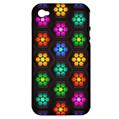 Pattern Background Colorful Design Apple Iphone 4/4s Hardshell Case (pc+silicone)