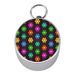 Pattern Background Colorful Design Mini Silver Compasses