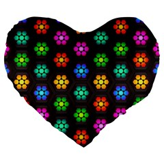 Pattern Background Colorful Design Large 19  Premium Flano Heart Shape Cushions