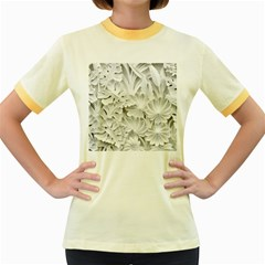 Pattern Motif Decor Women s Fitted Ringer T Shirts