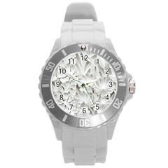 Pattern Motif Decor Round Plastic Sport Watch (l)