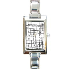 Structure Pattern Network Rectangle Italian Charm Watch