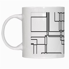Structure Pattern Network White Mugs