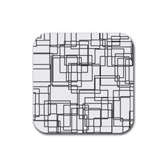 Structure Pattern Network Rubber Square Coaster (4 pack)