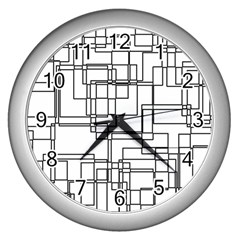 Structure Pattern Network Wall Clocks (silver)