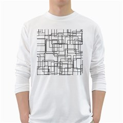 Structure Pattern Network White Long Sleeve T Shirts